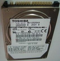 "New 100GB IDE 44PIN 2.5"" 9.5MM Drive Toshiba MK1032GAX HDD2K11 Free USA Shipping"