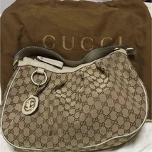 GUCCI Authentic GG Logo Canvas Leather Shoulder Tote Bag Beige white Used - $199.99