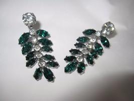 Stunning Vintage Silver Tone White & Green Rhinestone Leaf Dangle Earrings - $20.43