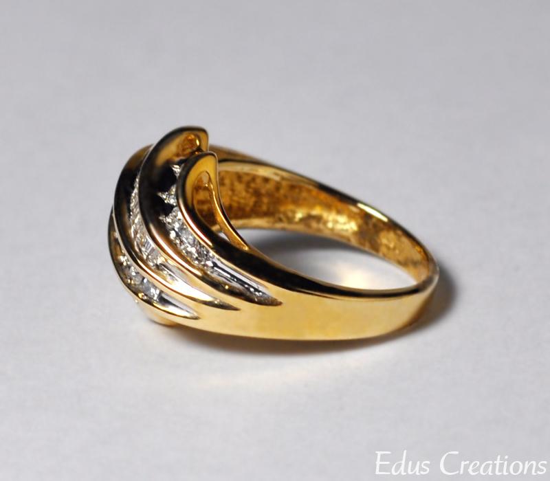 Natural Baguette Diamond Statement Bypass Band Ring Women 10K Yellow Gold