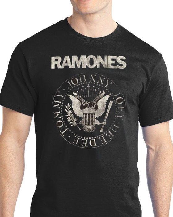 Quiksilver Men's Tee Shirt Classic Rock RAMONES Presidential Seal Black T-Shirt