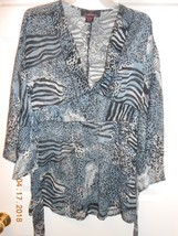 Cute Pink Collection size L animal print chiffon bell sleeves blouse bel... - $8.42