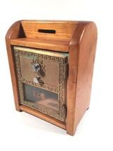 Keyless Lock Co Vintage Metal Corbin Mail Door Lockbox Wooden Bank Made ... - $44.54