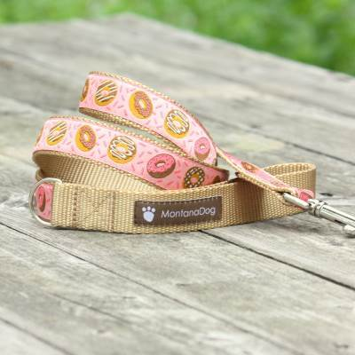 Donuts for Her Jacquard Dog Leash (120cm, 4ft.) / Made in Japan
