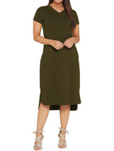 H BY HALSTON Size M Midi Length Hi-Low T-Shirt Dress BASIL - $39.57