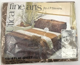 Vintage 1970s Utica Fine Arts Percale Twin Flat Sheet Botanica Chocolate... - $29.41
