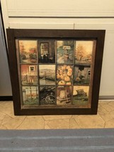 Vintage Homco Home Interior Interiors Window Pane Picture Fall Scenes B ... - $54.44