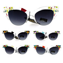 Womens Clear Half Horned Cat Eye Camouflage Print Sunglasses - $12.95