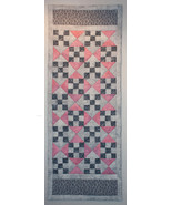 Pink and Grey Irish Chain and Hour Glass Table Runner - $45.00