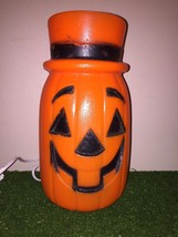 "Vintage Halloween 11"" Jack-O-Lantern With Top Hat Lighted Blow Mold Tabl... - $39.59"