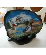 Vintage Hand painted tree fungus w/ duck pond and mountain scene - $15.00
