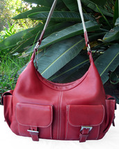 Tignanello Red Pebbled Leather Carryall Tote Shoulder Bag - $47.00