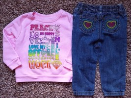 Girl's Size 18M 12-18 Months 2 Pc Pink Peace Love Sweatshirt, Carter's J... - $13.00