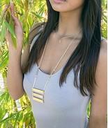 Gold Bar Necklace, Long Gold Bars Ladder Necklace, Natural Stones Minima... - $15.05