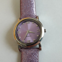 Accutime Ladies Watch round Silver Tone Purple Glitter shimmer band Womans - $9.99