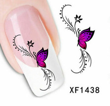 Nail Art Water Transfer Sticker Decal Stickers Pretty Flowers Pink Black... - $2.99