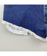 Wrangler Cut Off Shorts 32 High Waisted Lace Fray Denim Medium Wash Deni... - $28.91