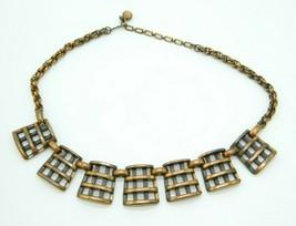 Rebajes Mid Century Modern Copper Openwork Waffle Grate Vintage Necklace - $71.52