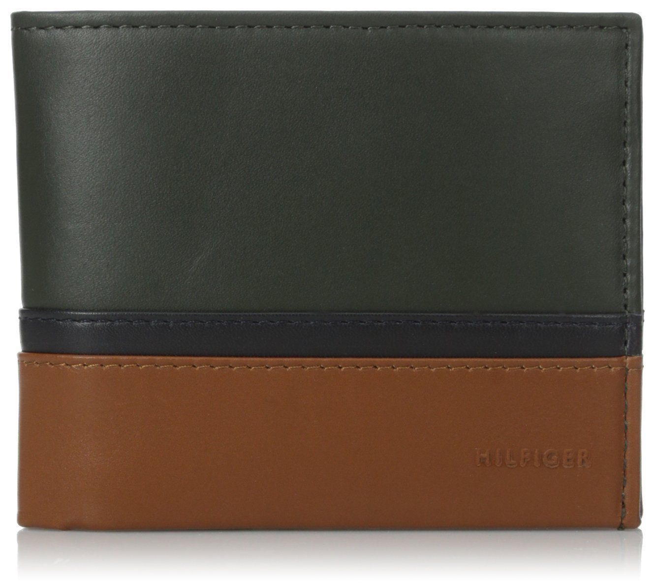 NEW TOMMY HILFIGER MEN'S PREMIUM LEATHER DOUBLE BILLFOLD WALLET OLIVE 31TL13X041