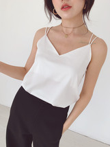 Ladies V-Neck Sleeveless Chiffon Tank Top Summer Chiffon Sleeveless Top US0-US12 image 12