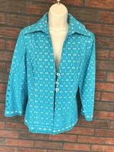 Leslie Stuart Size 10 Cotton Jacket Blazer Blue White Ribbon Sleeve Edge... - $24.50