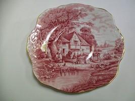 "HM Sutherland Pink Red Rural Scenes Plate 8 1/2"" - $5.92"