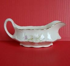 Vintage Homer Laughlin China Republic Pink Roses Gold Trim Gravy Boat Sa... - $9.89