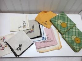 Lot 10 Vintage Napkins Embroidered Applique Linen Cotton Napkin 23600 - $15.14