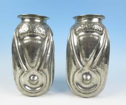 "Pair Alice & Eugene CHANAL Antique French Art Nouveau Hammered Tin 11"" V... - $1,039.10"