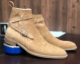 Handmade Tan Suede Jodhpur's High Ankle Monk Strap Boots For Men image 6