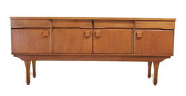 Teak Mid Century Modern Credenza or Media Console, With Square pulls, MC... - $1,149.22