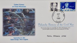 9/11/1990 Philatelic History Civil War Union Victory Cheat Mountain & Stamp - $9.99