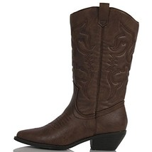 SODA Women's Reno Western Cowboy Pointed Toe Knee High Pull On Tabs Boot... - $25.42