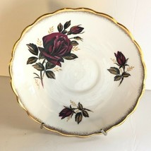 Replacement Rosina Bone China Saucer Ruby Roses Sponge Gold Trim Made in... - $7.43