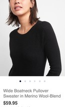 Wide Boatneck Pullover Sweater In Merino Wool-Blend: XL - $27.00