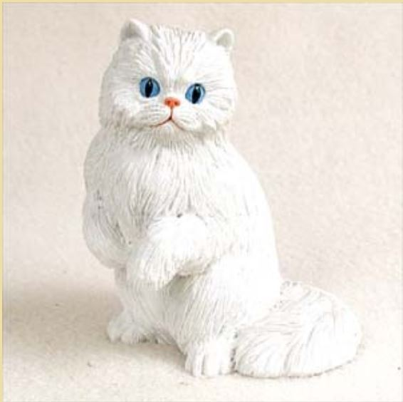 PERSIAN WHITE CAT Figurine Statue Hand Painted Resin Gift