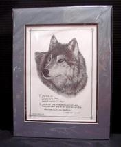Gini Adamson Pencil Art Wolf and Chief Dan George Quote Signed, Numbered... - $40.00