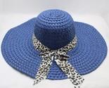 Raw hat flat top women girls leopard print big brim straw hat sun floppy wide brim thumb155 crop
