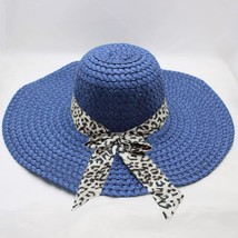Straw Hat Flat Top Women Girls Leopard Print Big Brim Straw Hat Sun Flop... - $8.09