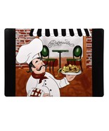 FAT CHEF PLACEMATS Set of 4 Vinyl Ristorante Dining Mat Bistro Cafe Cook NEW - $18.99