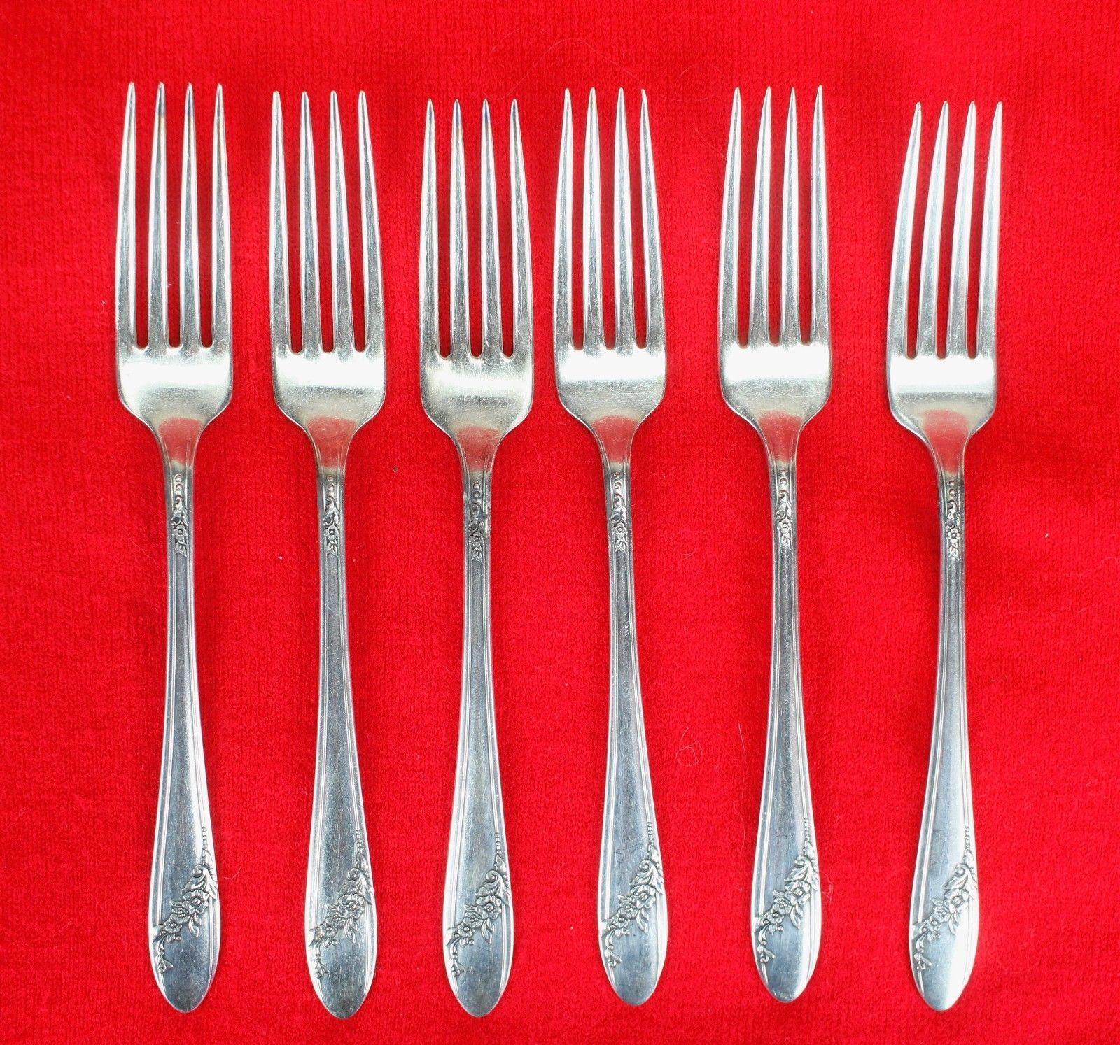 "6X Dinner Forks Oneida Queen Bess II Silverplate 1946 Tudor Flatware 7 1/2"" Fork"