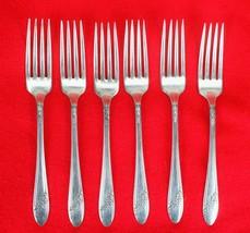 6X Dinner Forks Oneida Queen Bess II Silverplate 1946 Tudor Flatware 7 1... - $45.54