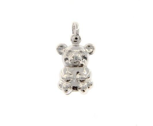 18K WHITE GOLD ROUNDED BEAR TEDDY BEAR PENDANT CHARM 20 MM SMOOTH MADE IN ITALY