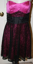 Betsey Johnson Evening Pink Black Sequins Strapless Dress 4 Party Cockta... - $955,96 MXN