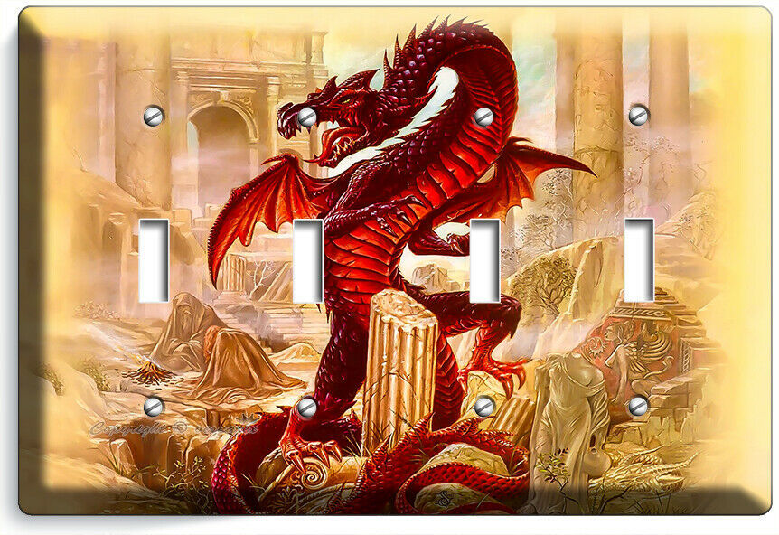 RED CHINESE DRAGON GREEK ROMAN RUINS 4 GANG LIGHT SWITCH WALL PLATES ROOM DECOR