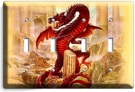 RED CHINESE DRAGON GREEK ROMAN RUINS 4 GANG LIGHT SWITCH WALL PLATES ROO... - $19.99