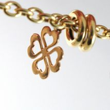 Gold Bracelet Yellow White Pink 18K 750, Circles, Four-Leaf Clover & Hearts, Cmd image 3