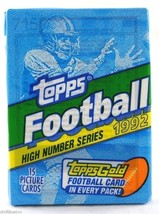 1992 Topps Football High Number Series Factory Sealed Wax Pack 15 Cards Gold - $3.50