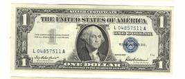 1957 $1 DOLLAR SILVER CERTIFICATE L 04857511 A ERROR - $17.82
