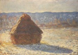 Haystacks, snow, morning by Monet - 24x32 inch Canvas Wall Art Home Decor - $51.99